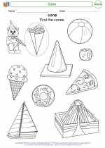 Mathematics - Kindergarten - Worksheet: Cone