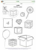 Mathematics - Kindergarten - Worksheet: Cube