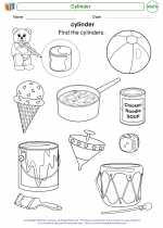 Mathematics - Kindergarten - Worksheet: Cylinder