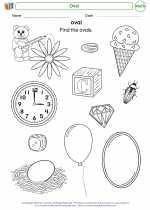 Mathematics - Kindergarten - Worksheet: Oval