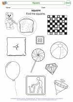 Mathematics - Kindergarten - Worksheet: Square