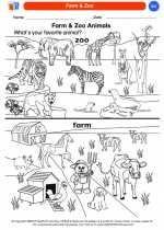 Science - Kindergarten - Worksheet: Farm & Zoo