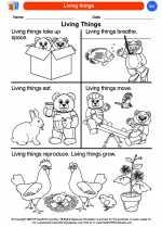 Science - Kindergarten - Worksheet: Living things