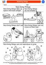 Science - Kindergarten - Worksheet: Nonliving things