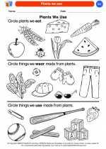 Science - Kindergarten - Worksheet: Plants we use