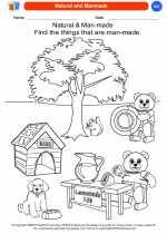 Science - Kindergarten - Worksheet: Natural and Manmade