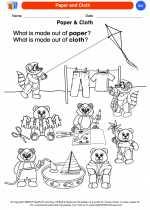 Science - Kindergarten - Worksheet: Paper and Cloth