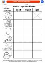 Science - Kindergarten - Worksheet: Solids, Liquids and Gases