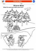 Science - Kindergarten - Worksheet: Wood and Metal