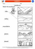 Science - Kindergarten - Worksheet: Landforms