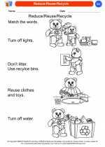 Science - Kindergarten - Worksheet: Reduce-Reuse-Recycle