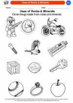 Science - Kindergarten - Worksheet: Uses of Rocks & Minerals