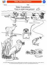 Science - Kindergarten - Worksheet: Water, Water Everywhere