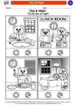 Science - Kindergarten - Worksheet: Day and Night