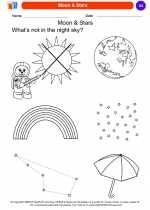 Science - Kindergarten - Worksheet: Moon & Stars