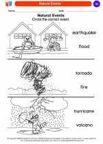 Science - Kindergarten - Worksheet: Natural Events