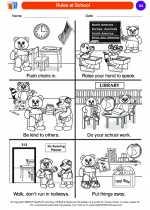 Social Studies - Kindergarten - Worksheet: Rules at School
