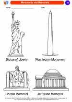 Social Studies - Kindergarten - Worksheet: Monuments and Memorials