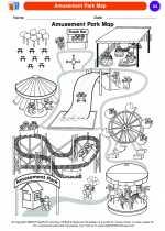 Social Studies - Kindergarten - Worksheet: Amusement Park Map