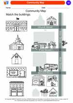 Social Studies - Kindergarten - Worksheet: Community Map