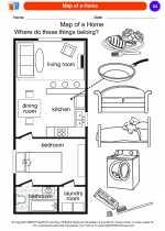 Social Studies - Kindergarten - Worksheet: Map of a Home