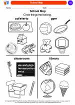 Social Studies - Kindergarten - Worksheet: School Map