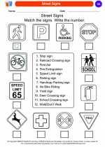 Social Studies - Kindergarten - Worksheet: Street Signs