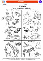 Social Studies - Kindergarten - Worksheet: Zoo Map