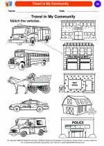 Social Studies - Kindergarten - Worksheet: Travel in My Community