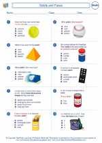 Mathematics - Third Grade - Worksheet: Solids and Faces