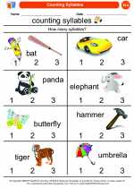 English Language Arts - Kindergarten - Worksheet: Counting Syllables