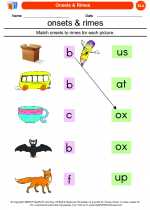 English Language Arts - Kindergarten - Worksheet: Onsets & Rimes