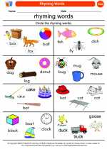 English Language Arts - Kindergarten - Worksheet: Rhyming Words