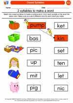 English Language Arts - Kindergarten - Worksheet: Closed Syllables