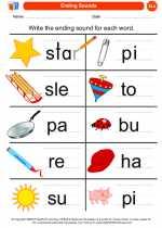 English Language Arts - Kindergarten - Worksheet: Ending Sounds