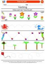 English Language Arts - Kindergarten - Worksheet: Trace the path