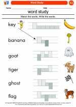 English Language Arts - Kindergarten - Worksheet: Word Study