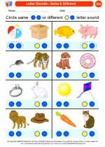 English Language Arts - Kindergarten - Worksheet: Letter Sounds - Same & Different