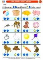 English Language Arts - Kindergarten - Worksheet: Letter Sounds - Same & Different