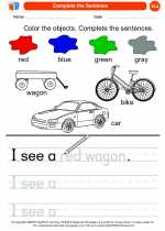 English Language Arts - Kindergarten - Worksheet: Complete the Sentence