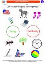 Science - Kindergarten - Worksheet: Living and Nonliving