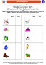 Social Studies - First Grade - Worksheet: Needs and Wants