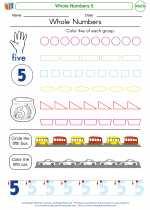 Mathematics - Kindergarten - Worksheet: Whole Numbers 5