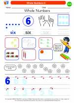 Mathematics - Kindergarten - Worksheet: Whole Numbers 6