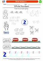 Mathematics - Kindergarten - Worksheet: Whole Numbers 2