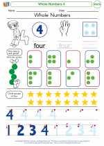 Mathematics - Kindergarten - Worksheet: Whole Numbers 4