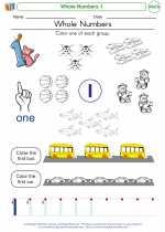 Mathematics - Kindergarten - Worksheet: Whole Numbers 1