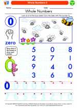 Mathematics - Kindergarten - Worksheet: Whole Numbers 0