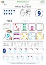 Mathematics - Kindergarten - Worksheet: Whole Numbers 9
