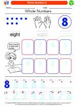 Mathematics - Kindergarten - Worksheet: Whole Numbers 8